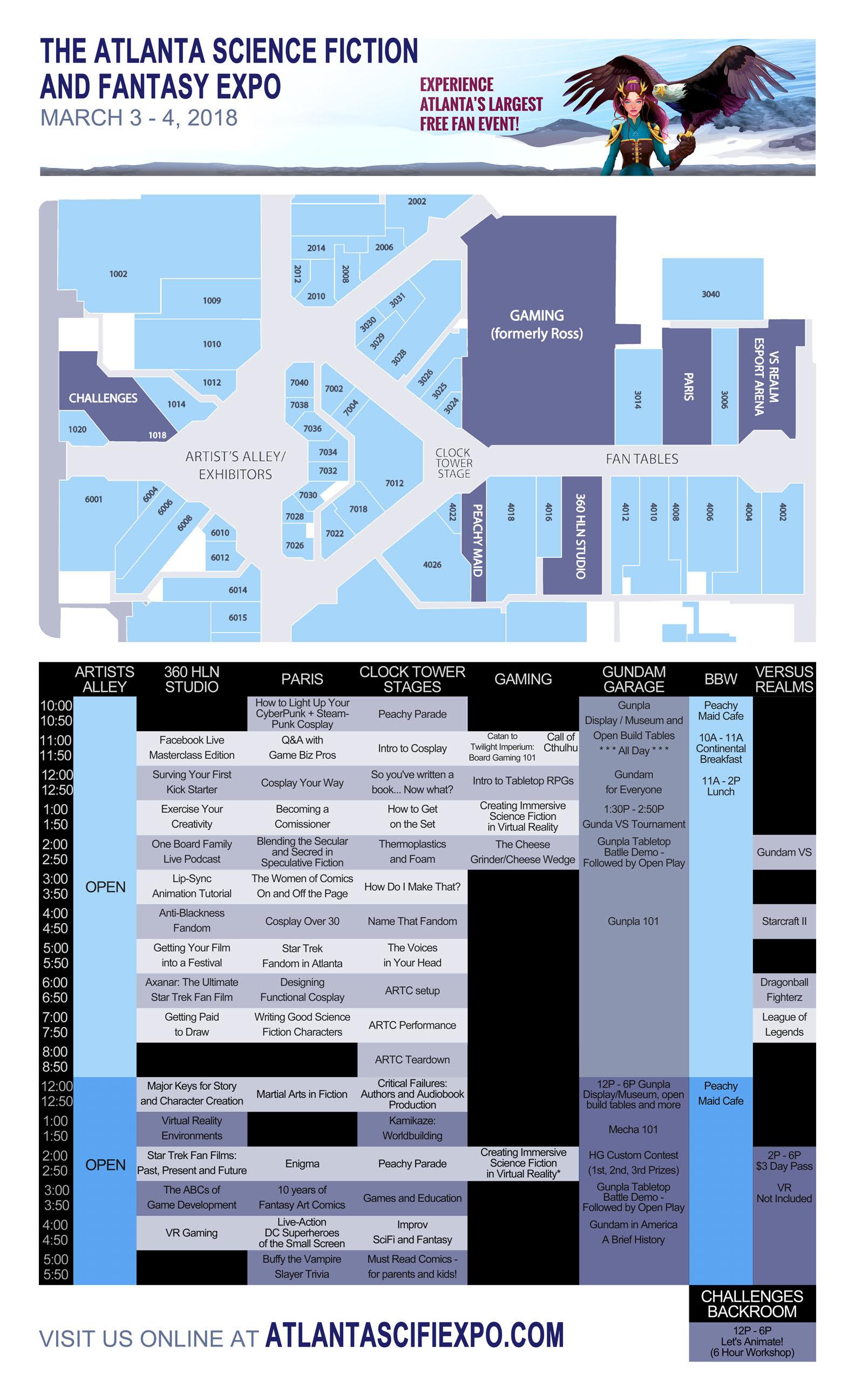 2018 Atlanta Sci-Fi and Fantasy Expo Schedule